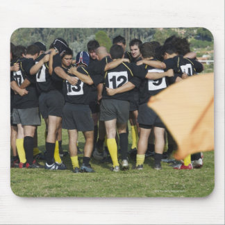 Rugby team standing in a circle mouse pad