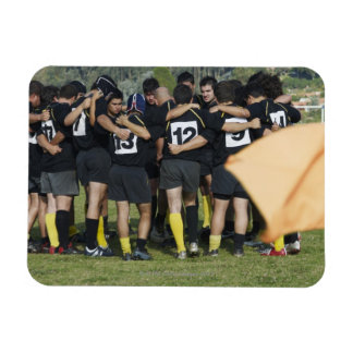 Rugby team standing in a circle rectangular magnets