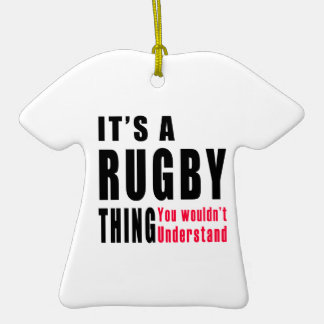 Rugby Thing Designs Double-Sided T-Shirt Ceramic Christmas Ornament