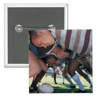 Rugby Union Players in a Scrum Pinback Button
