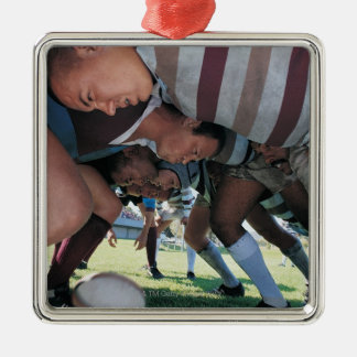 Rugby Union Players in a Scrum Square Metal Christmas Ornament