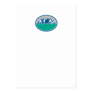 Rugby Union Scrum Oval Retro Large Business Cards (Pack Of 100)