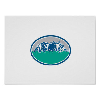 Rugby Union Scrum Oval Retro Poster