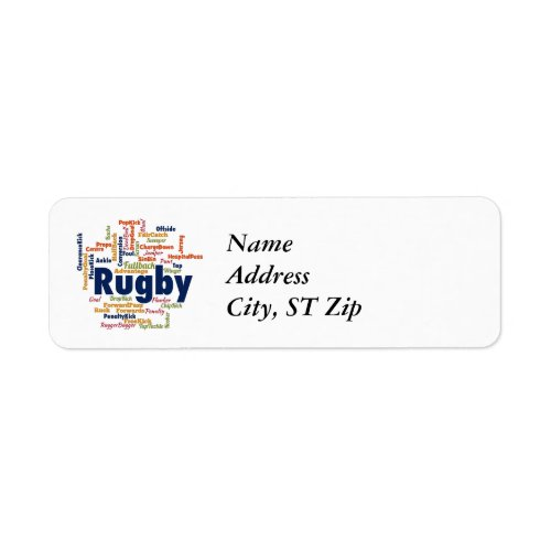 Rugby Word Cloud Label