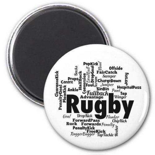 Rugby Word Cloud Magnet