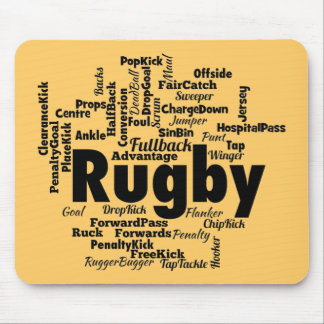 Rugby Word Cloud Mouse Pad