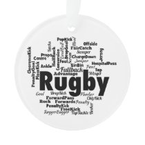 Rugby Word Cloud Ornament