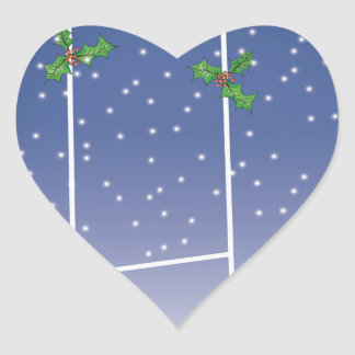 rugby xmas heart sticker