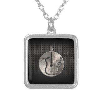 Rugged Acoustic Guitar Square Pendant Necklace
