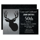 Rugged Adult Deer Hunting Birthday Invitations at Zazzle