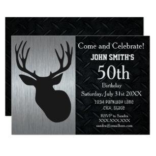 Hunting birthday invitations announcements zazzle rugged adult deer hunting birthday invitations filmwisefo