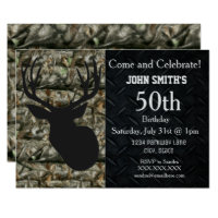 Deer hunting birthday invitations zazzle rugged adult deer hunting birthday invitations filmwisefo