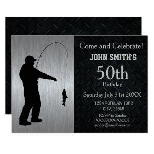 Rugged Adult Fishing Birthday Invitation