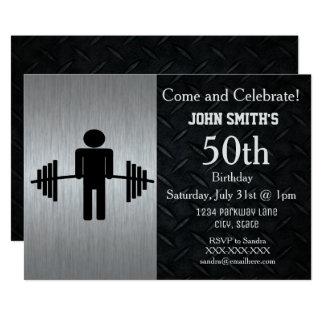 Rugged Adult Weightlifting Birthday Invitations