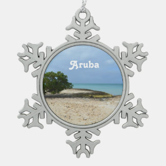 Rugged Aruba Snowflake Pewter Christmas Ornament