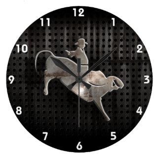Rugged Bull Rider Large Clock