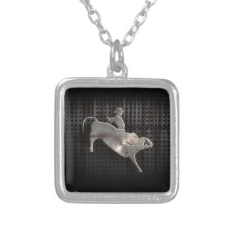 Rugged Bull Rider Silver Plated Necklace