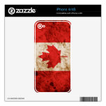 Rugged Canadian Flag Skin For iPhone 4S