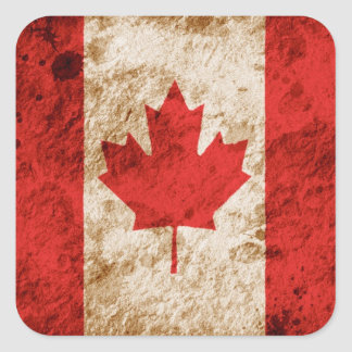 Rugged Canadian Flag Square Sticker