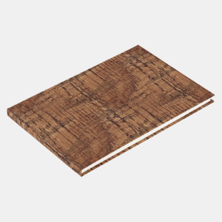 Rugged Chestnut Oak Wood Grain Look Guest Book