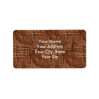 Rugged Chestnut Oak Wood Grain Look Label