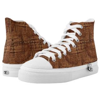 Rugged Chestnut Oak Wood Grain Look Printed Shoes