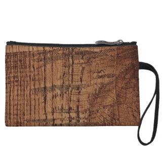 Rugged Chestnut Oak Wood Grain Look Wristlet