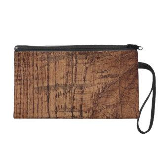 Rugged Chestnut Oak Wood Grain Look Wristlet Purse