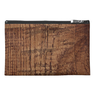 Rugged Chestnut Wood Grain Look Travel Accessories Bags