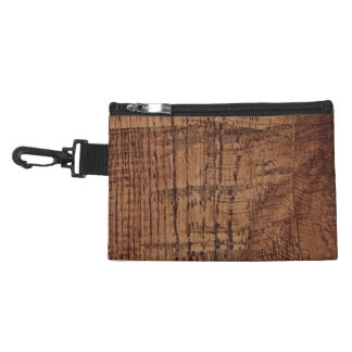 Rugged Chestnut Wood Grain Look Accessory Bag