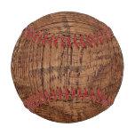 Rugged Chestnut Wood Grain Look Baseball
