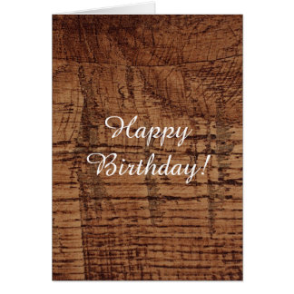 Rugged Chestnut Wood Grain Look Greeting Cards