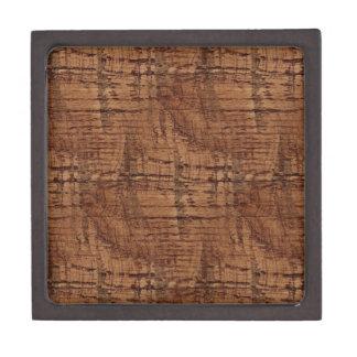 Rugged Chestnut Wood Grain Look Premium Jewelry Box