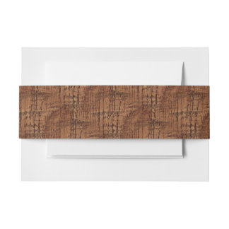 Rugged Chestnut Wood Grain Look Invitation Belly Band