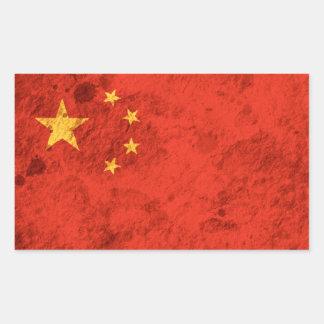 Rugged Chinese Flag Rectangular Sticker