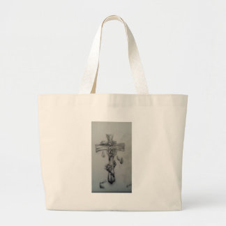 Rugged cross and roses tote bags