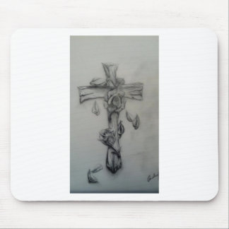 Rugged cross and roses mouse pad
