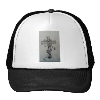 Rugged cross and roses trucker hat
