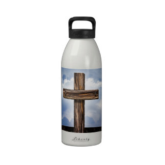 Rugged Cross with Sky Reusable Water Bottles