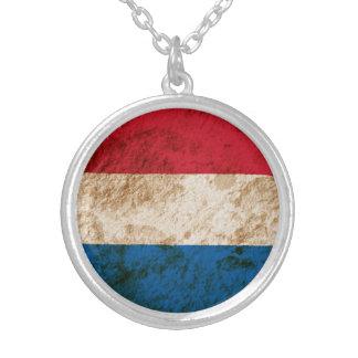 Rugged Dutch Flag Round Pendant Necklace