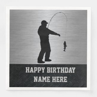 Rugged Fishing Birthday Napkins