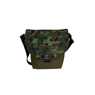 Rugged Forest Camo Print Messenger Bag
