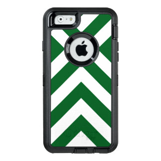 Rugged Geometric Green and White Chevrons OtterBox Defender iPhone Case