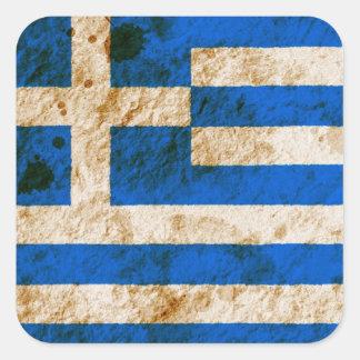 Rugged Greek Flag Square Sticker