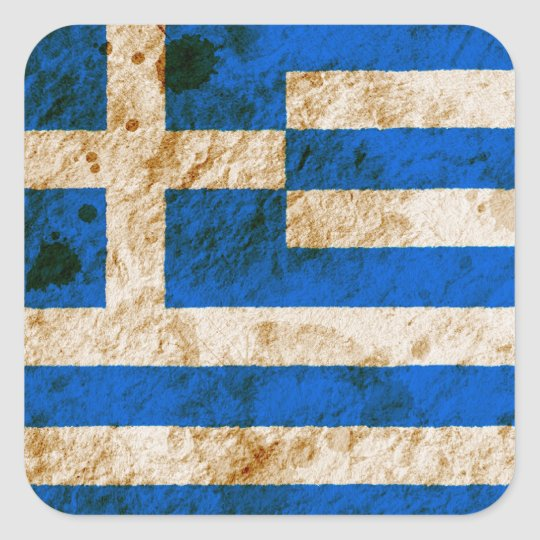 Rugged Greek Flag Square Sticker