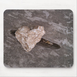 Rugged Heart Rock over Knot Hole Mouse Pad