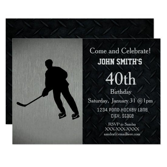 Rugged Hockey Birthday Celebration Invitations