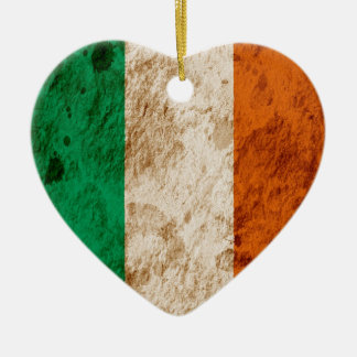 Rugged Irish Flag Double-Sided Heart Ceramic Christmas Ornament