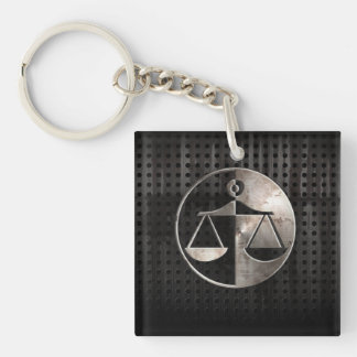Rugged Justice Scales Double-Sided Square Acrylic Keychain