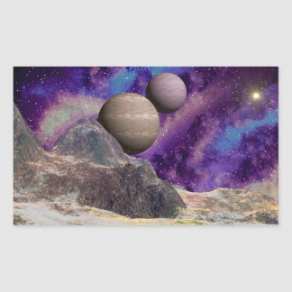 Rugged Mountain Purple Gas Cloud Rectangular Sticker
